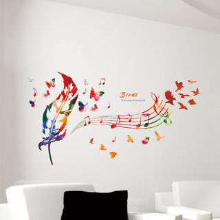 DIY Removable Music Feather Note Wall Stickers Livingroom Bedroom Home Decor