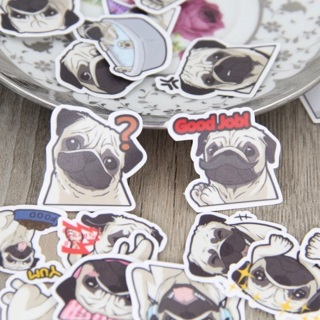 ✫ Pug Dog Kawaii High End Sticker Flakes Set of 10 NEW ✫