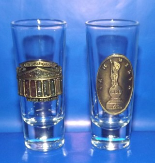 2 Vintage Collectible Shooter Shot Glass From Mexico & 1 From Turkey