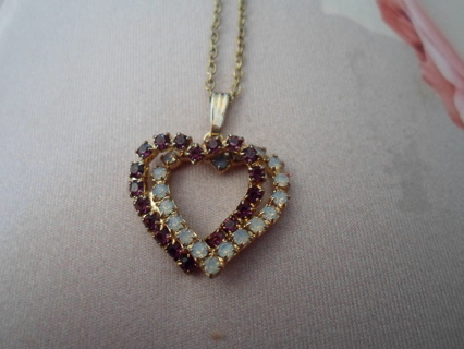 PRETTY DOUBLE HEART NECKLACE-WITH AMETHYST & WHITE OPAL STONES! NEW**