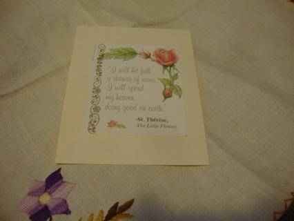 Saint Therese Prayer Bookmark ~ Free Shipping