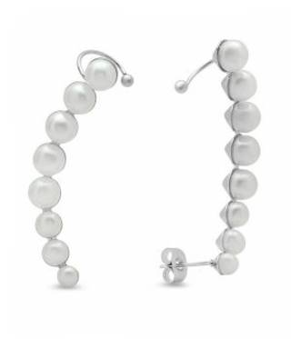 Ladies Stainless Steel Climber Cuff Earrings Pearls NWT