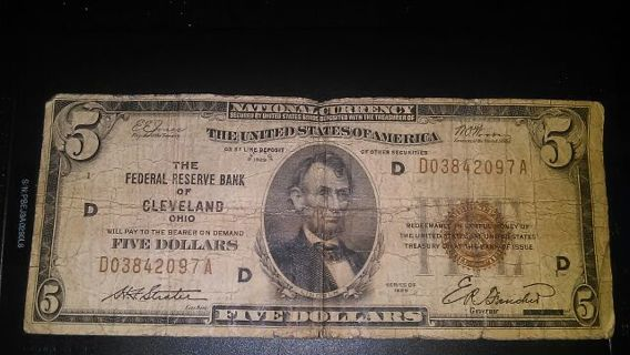The Federal Reserve Bank of Cleveland ($5 bill)