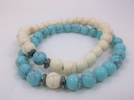 Teal & White Howlite Friendship Stretchy Bracelets