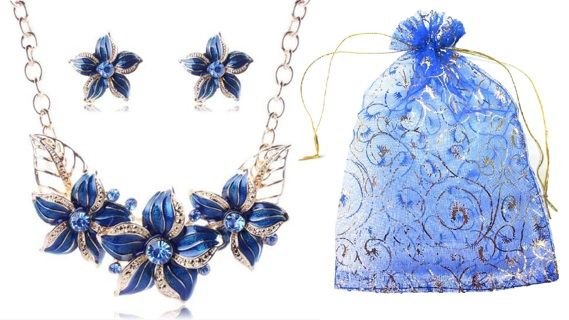 Royal Blue Chunky Flower Necklace & Earrings Jewelry Gift Set for Women - Elegant Crystal Enamel
