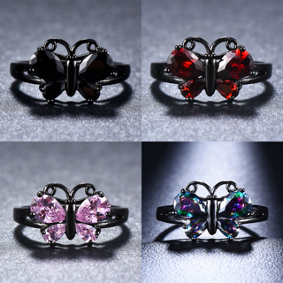 Fashion Cute Butterfly Animal Rings Multicolor Zirconia Black Gold Rings Gifts