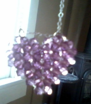 beautiful new purple stone heart necklace