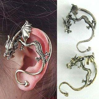Vintage Punk Temptation Metal Dragon Bite Ear Cuff Clip Gothic Wrap Earring _AU