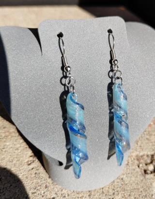 Lovely Lampwork Glass Dangle Earrings Light Blue Twirls Swirls With Glitter Flecks