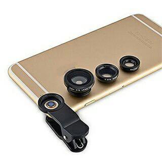 3in1 Fisheye Lens + Wide Angle + Micro Lens photo Kit Set for Smart Cellphone