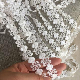 """1Y Beige Flower Embroidery Lace Trim Venise Edge Ribbon Wedding Applique 0.78""""Width"""