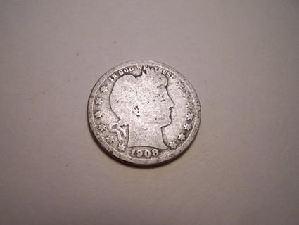 Silver 1908-O Barber Quarter