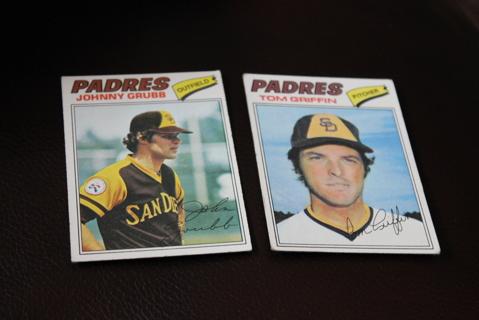 (2) 1977 Topps Baseball San Diego Padres MLB Griffin Grubb **