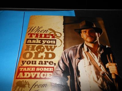 8 X 45 HALLMARK BRAND INDIANA JONES Harrison Ford Musical Birthday Card