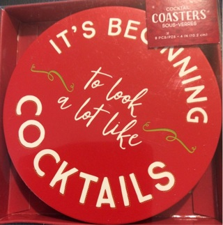 """Brand New: Pack of Eight, 4 inch Coasters. """"It's Beginning To Look A Lot Like Cocktails"""""""
