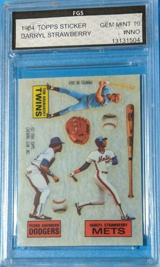 RARE DARRYL STRAWBERRY ROOKIE TOPPS STICKER * GRADED GEM MINT 10