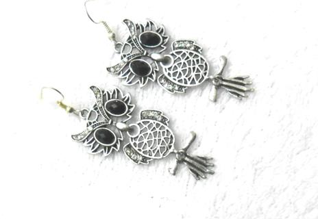 Owl earrings tibet silver style/NEW
