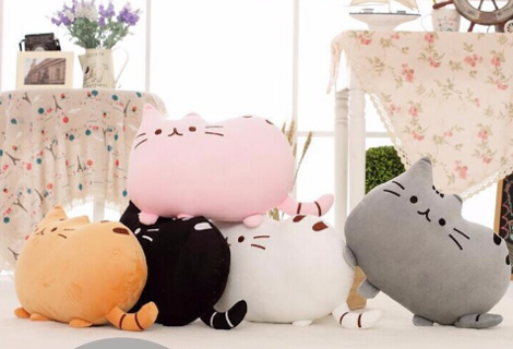 Kawaii Cat Pillow With Zipper Only Skin Without PP Cotton Biscuits Kids Toys Doll Big