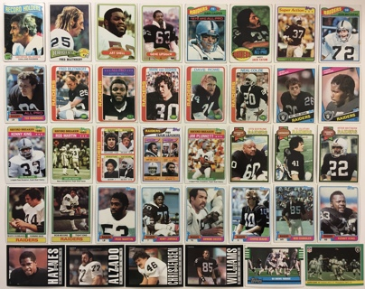 38 Oakland Raiders 1970s and 1980s Vintage Topps Fleer Football Cards Biletnikoff Blanda