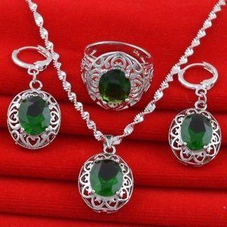 Women 925 Silver Sapphire Green Crystal Necklace Pendant Rings Earrings Jewellery Set
