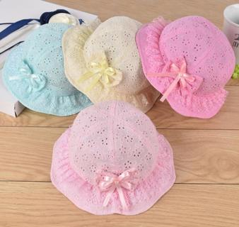 Mesh Baby Girl Cap Embroidered Toddler Kids Beach Cap Summer Cute Princess Baby Hat With Bow Flowe