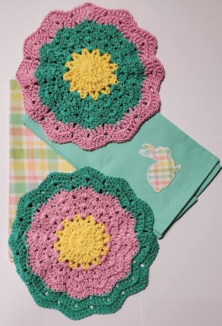 "Crochet 2 - 9"" Dish Cloth/Wash Cloths/2 EVERYDAY FLOUR SACK TOWEL"