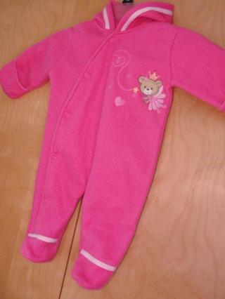 GIRLS Warm Fleece Hoodie 6 - 9 Months One Piece Suit Plush Pram Infant