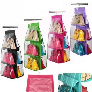 6 Pockets Hanging Storage Bag Purse Handbag Tote Bag Storage Organizer