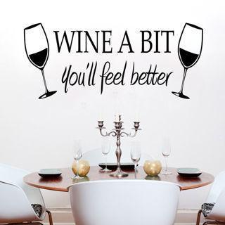 Wine A Bit Vinyl Wall Art Wall Quote Sticker Dinning Kitchen Removable Decals
