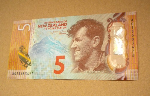 Collectable New Zealand $5 Banknote - Sir Edmond Hillary