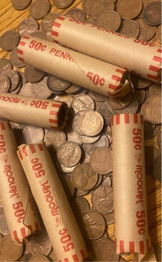 Rolls of wheat pennies cents not checked for errors and varieties