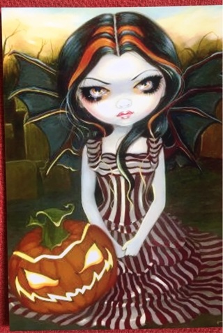 "BIG EYES WITH PUMPKIN !! - 5 x 4"" MAGNET"