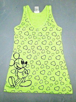 Mickey Mouse Tank Hearts Green Black Medium