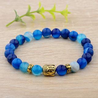 Women Men Natural Blue Agate Gemstone Beads Buddha Head Beaded Fashion Bracelet