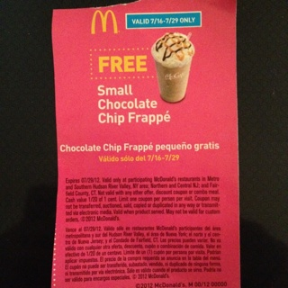 Free Coupon For Free Mcdonald S Frappe Choc Chip Free Shipping