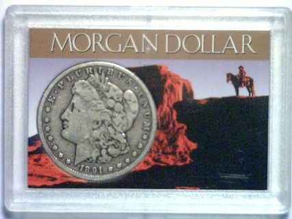 ★★★ 1891-O Morgan 90% Silver Dollar Coin in plastic holder. ★★★