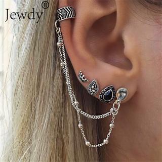 4 Pcs/Set New Fashion Boho Silver Crown Crystal Stud Earrings For Women Vintage Leaf Earring Set