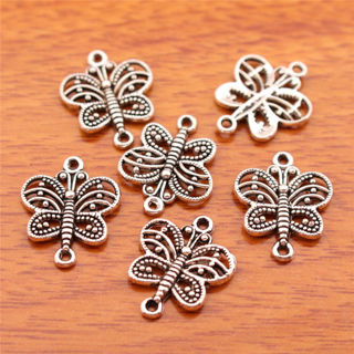 50Pcs17mm Charms Butterfly Pendant Connector Tibet Silver DIY Jewelry