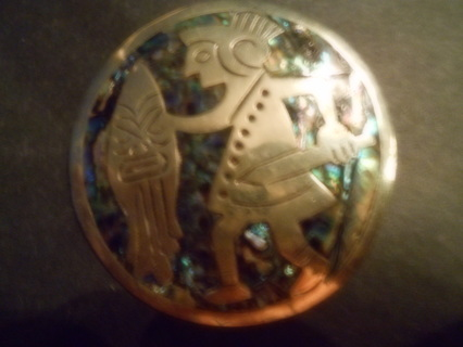 * VINTAGE MEXICAN SILVER PIN *ABALONE *