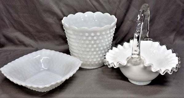 Vintage Milk Glass Hobnail Set Fire King