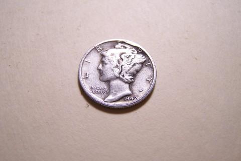 Silver 1942-S Winged Liberty Head Mercury Dime