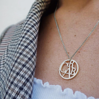 Women's Fashion Silver Necklace Temperament Hollow Letters Pendant Clavicle Chain Ladies Party