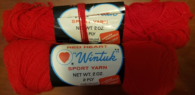 "NEW - Red Heart Sport Yarn - ""Red"" & EXTRA"
