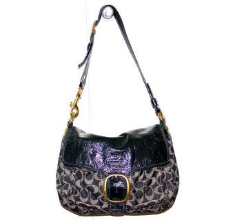 Coach Blue Denim Navy Patent Leather Classic Signature Bleeker Purse Bag C0873 12572