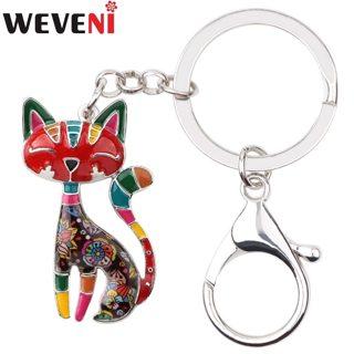 WEVENI Enamel Metal Cat Kitten Key Chain Key Ring HandBag Charm Keychain Accessories New Trendy