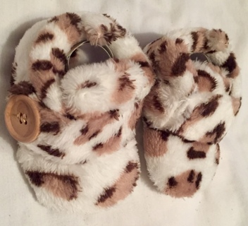 New Animal Print Slippers 0-3 Months