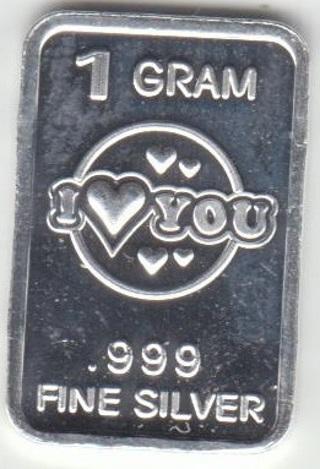 1 Gram SOLID SILVER Bar - Fine .999 Pure *I <3 YOU* 092017