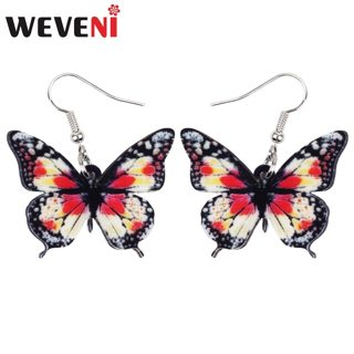 WEVENI Acrylic Unique Floral Butterfly Insect Earrings Big Dangle Drop Fashion Jewelry For Women