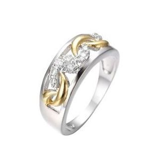 Shiny Fashion New Crystal Jewelry White Gold Plated Zircon Ring Silver Plated