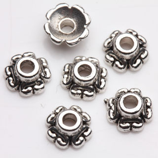 Cute 50PCs Tibet Silver Plated Flower Spacer Bead Caps Jewelry Finding DIY 6x3mm